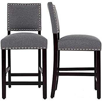Fantastic Dagonhil 24 Inches Counter Height Bar Stools With Black Solid Wood Legs Set Of 2 Gray Uwap Interior Chair Design Uwaporg