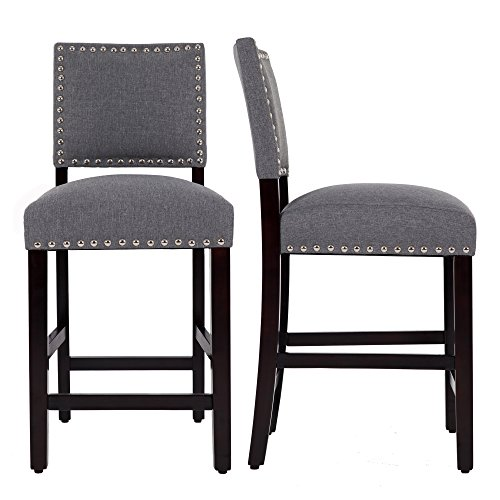 Set Island Kitchen Room Dining (DAGONHIL 24'' Counter Height Bar Stools with Solid Wood Legs-Set of 2 (Gray))