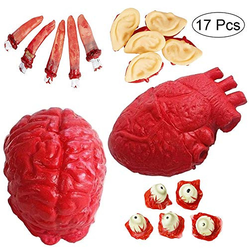 Epic Halloween Decorations (XOYO Halloween Body Parts-17 Piece Bloody Fake Human Organs:Artificial Heart/Brain/Eyes/Ears/Fingers, Halloween Party Props, Haunted House Decoration, Halloween Prank Trick)