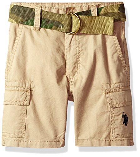 (U.S. Polo Assn. Boys' Toddler Short, Camo Belted Cargo Dark Khaki, 2T)
