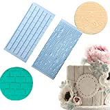 Anyana Tree Bark and Brick Wall cake plastic Embossing Mat Texture fondant impression lace mat decorating mold gum paste cupcake topper tool icing candy imprint baking moulds sugarcraft set of 2