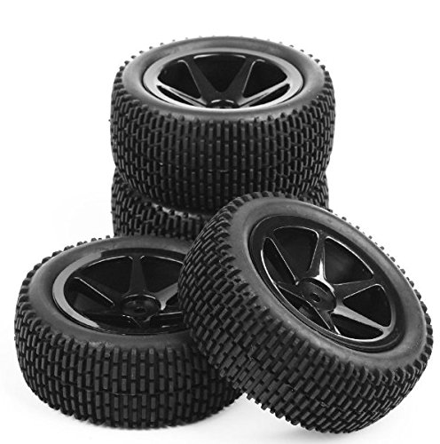 Buggy Tire (Ruixunte 4Pcs 12mm Hex Front&Rear Rubber Tire Wheel Set For 1:10 RC Off Road Buggy Car)