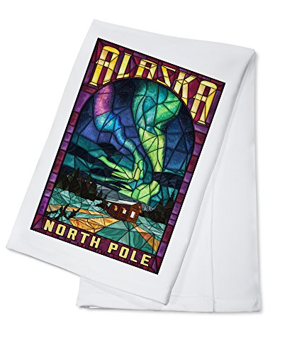 North Pole, Alaska - Cabin and Northern Lights Stained Glass (100% Cotton Kitchen Towel)