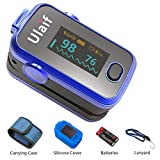 ULAIF Fingertip Pulse Oximeter with OLED Display Portable Oximetry Blood Oxygen Saturation Monitor SpO2 Finger Pulse Oximeter Readings with Carrying Case Silicon Case Lanyard and Batteries FDA Cleared