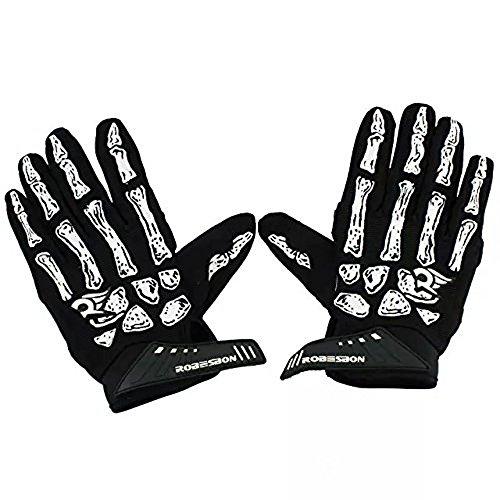 Ezyoutdoor Non-Slip Black Skull Glove Sport Racing Motorcycle Gel Bike Bone Skeleton Bicycle Full Finger Cycling Gloves Large Size