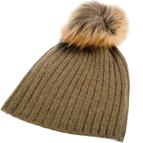 Rib Luxurious Hat Pom Style Pom LTD with I Olive Detachable Pom Luv Pom Cashmere xnwqE0EYa