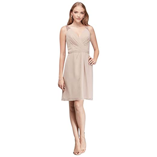 David S Bridal Metallic Chiffon V Neck Bridesmaid Dress With Lace
