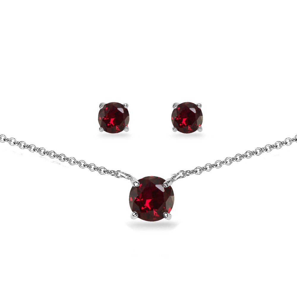GemStar USA Sterling Silver Created Ruby Round Solitaire Choker Necklace and Stud Earrings Set