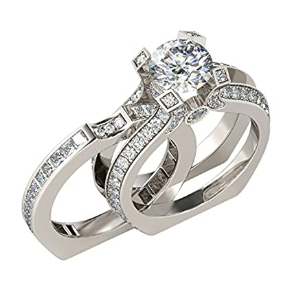 JEWH Luxury Female Ring Sets - Silver Color Filled Jewelry - Vintage Promise Rings for Women