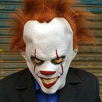 Máscara de payaso del diablo horror de látex máscara divertida de miedo accesorios de escape de la sala de fiesta de Halloween: Amazon.es: Juguetes y juegos