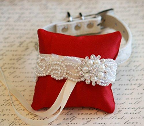 Red Ring Pillow Dog Collar, Pet wedding, Pearl Ring Bearer
