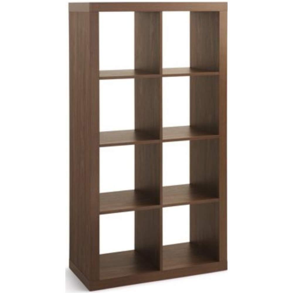 Modern Better Homes and Gardens 8-Cube Organizer, Vintage Walnut + Free Home Decors