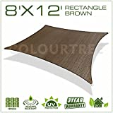ColourTree 2nd Gen 8' x 12' Brown Sun Shade Sail Rectangle Canopy Awning Fabric Cloth UV Block Heavy Duty Commercial Grade Outdoor Patio Garden Carport 5 Years Warranty (Custom