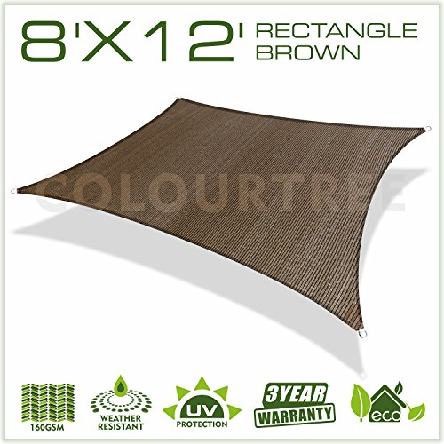 ColourTree 2nd Gen 8' x 12' Brown Sun Shade Sail Rectangle Canopy Awning Fabric Cloth UV Block Heavy Duty Commercial Grade Outdoor Patio Garden Carport 5 Years Warranty (Custom by ColourTree