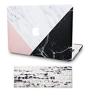 """KEC MacBook Pro 13"""" Retina Case (2015) w/ KeyBoard Cover Plastic Hard Shell Rubberized A1502/A1425 (White Marble with Pink Black)"""
