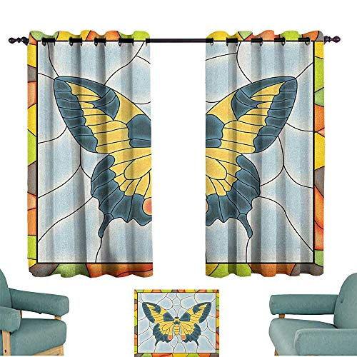 Glass Screen Stained Butterfly Fireplace - WinfreyDecor Butterflies Curtain for Kids Butterfly in Stained Glass Window with Frame Wing Spring Garden Illustration Noise Reducing 63