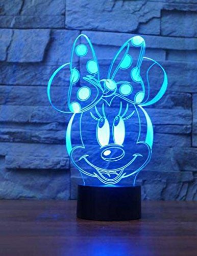 LE3D 3D Night Light Optical illusion Lamp - 7 LED Changing Light Colors - For your bedroom | office - Soft Cool light Is Safe for kids - 60 Different Designs (Minnie Mouse)