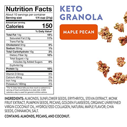 HighKey Keto Food Low Carb Granola Cereal & Clusters - Gluten Free Snacks & Breakfast Foods - Treats - Zero Added Sugar, High Protein Nut Snack - Diabetic, Paleo Healthy Diet Friendly Products 5