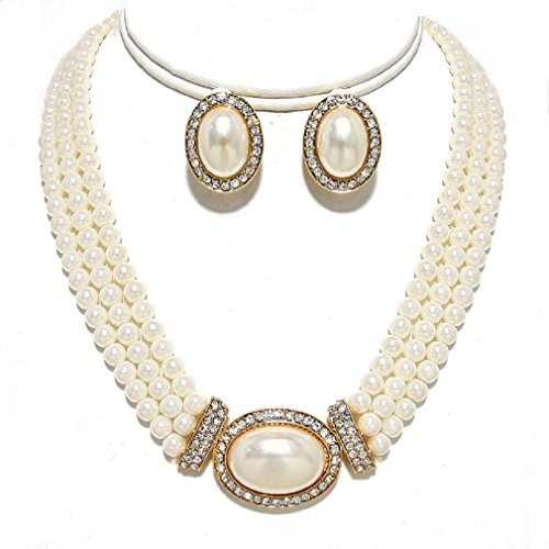 Elegant Layered Strands Necklace Earrings