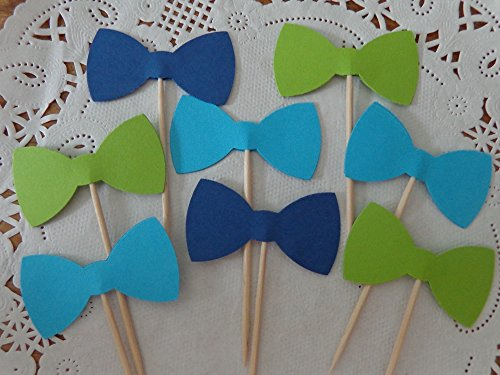 Navy Blue Lime Green and Aqua Blue Bow Tie Cupcake Toppers - Food Picks - Party Picks - Baby Shower Toppers - Bowtie Toppers (Set of (Bow Tie Cupcakes)