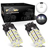 Partsam Pack2 3157 3156 4114 Xenon White Daytime Running Light DRL LED 60-3528-SMD Ultra Bright Car Led Compatible with Dodge Chevrolet