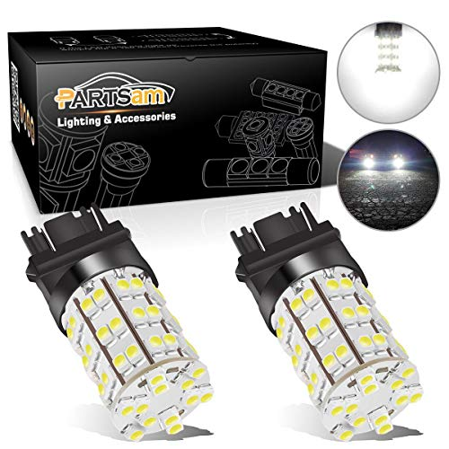 Partsam 3157 3156 4114 Daytime Running Light Bulbs DRL Driving Light 60LED 3528-SMD 6000K Xenon White Ultra Bright Car Led Bulbs Compatible with Dodge Chevrolet (Pack of 2)