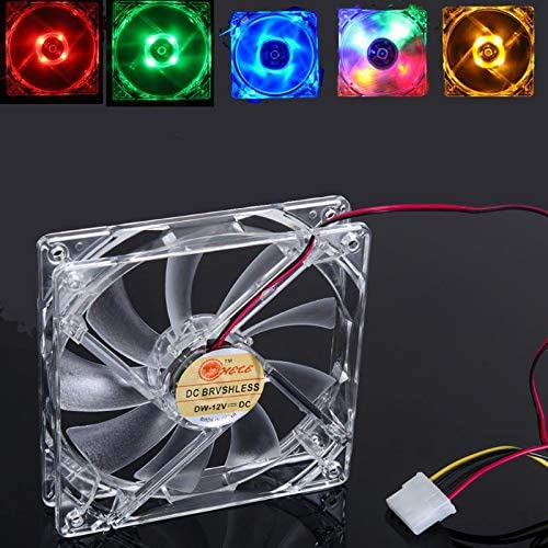 Blue-Ocean-11-120mm Computer PC 4 LED Light Cooling Fan 12cm 4Pin Transparent Clear Case LED Luminous Chassis CPU Cooler Heatsink