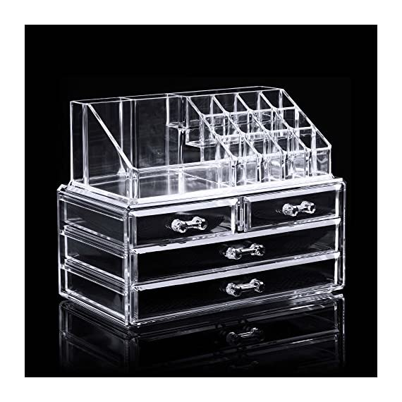 """BATHWA Acrylic Jewelry & Cosmetic Storage Display Boxes Two Pieces Set 4 Drawers Cosmetics Storage with 16 Top Compartments Storage Case- 9.4""""x 5.1""""x 7.2"""" - ACRYLIC COSMETIC & MAKEUP STORAGE CASE: Made of Durable Clear Acrylic, FAST and EASY washing Saves your Valuable Time! After repeated cleaning, still as a new Makeup Organizer. LARGE CAPACITY & CONVENIENT: 2 Large drawers, 2 small drawers and 16 top compartments. The perfect multi-purpose organizer roomy enough to hold many shapes and sizes of your favorite makeup jewelry and much more. PERFECT DISPLAY & ORGANIZE: Removable mesh liner can protect your jewelry and cut down noise; 4 easy-sliding drawers, your makeup storage LOOKS BETTER, more Space than other clear organizers. - organizers, bathroom-accessories, bathroom - 515fE0xUImL. SS570  -"""