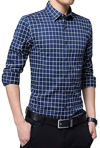 - FRTCV Mens Plaid Button Down Shirts Casual Checked Dress Shirts 2205 Dark Blue Tag 4XL/US L