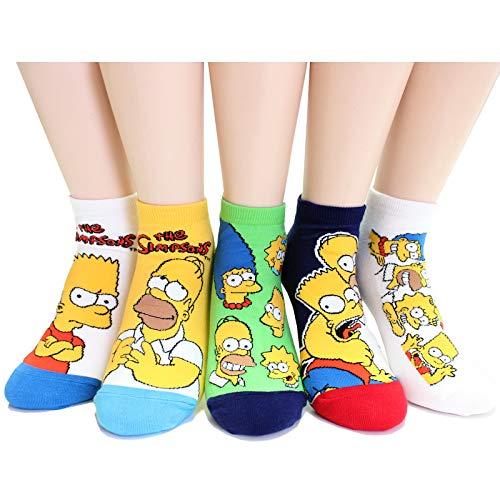 (EVEI The Simpsons Cartoon Series Women's Men's Original Socks (simpson_women_02 (5 pairs)))