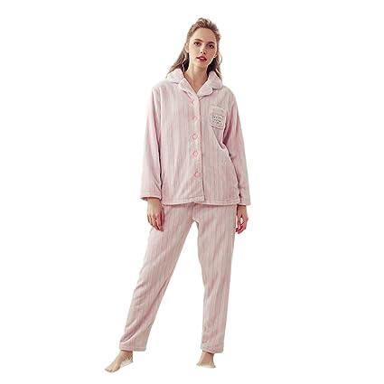 Franela de invierno para mujer: pijamas cálidos, cárdigan de rayas dulces, pantalón de