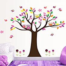 Colorful Leaves Tree Owls Butterflies Birds Wall Decal Home Sticker Paper Removable Living Room Bedroom Art Picture DIY Mural Girls Boys kids Nursery Baby Playroom Decoration + Gift Colorful Butterflies
