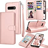 Tekcoo for Galaxy S10 Case, Tekcoo Samsung S10 Wallet Case / S10 PU Leather Case, Luxury Cash Credit Card Slots Holder Carrying Folio Flip Cover [Detachable Magnetic Hard Case] Kickstand -Rose Gold