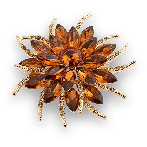 Crystal Brooch Fashionable Brooches Pins Women Bouquet Big Flower Wedding Created, Champange A