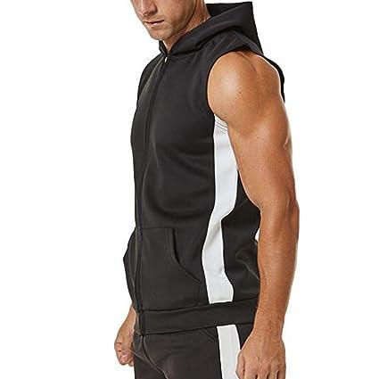 01b5dfa319f1a Amazon.com  Sagton Men s Bodybuilding Sleeveless Hoodie Gym Tank Top  Sagton