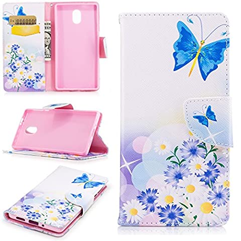 Nokia 3 Case, Art Color Painting Design PU Leather Magnetic Closure Flip Folio Wallet Cover Case for Nokia 3 with Card Slot Kickstand ( Color : F (Sparkly Girls Ipod 4 Cases)
