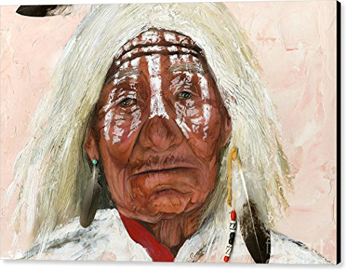 """Ghost Shaman"" by J W Baker, Canvas Print Wall Art, 36"" x 24"", Black Gallery Wrap, Glossy Finish"