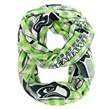 NFL Seattle Seahawks Sheer Infinity Plaid Scarf, One Size, Lime