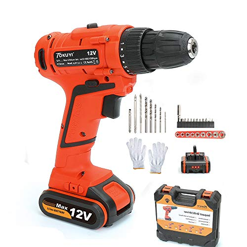 Cordless Drill with Battery and Charger, Electric Power Drill Lithium 12V with Driver Set and Project Kit, 3/8 Keyless Chuck Small Drill, LED Light 1 Hour Fast Charger, 32pcs Accessories Father's Day