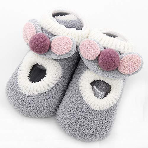 Thick Coral Fleece Cartoon Ear Non-Slip Floor Socks Children's Socks, Winter, 7 Colors, Soft Hand Feeling 1 Pair Socks (Gray, L) ()