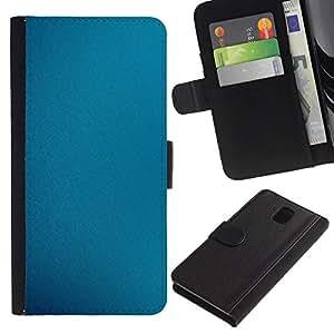 // PHONE CASE GIFT // Moda Estuche Funda de Cuero Billetera Tarjeta de crédito dinero bolsa Cubierta de proteccion Caso Samsung Galaxy Note 3 III / Blue Fabric /