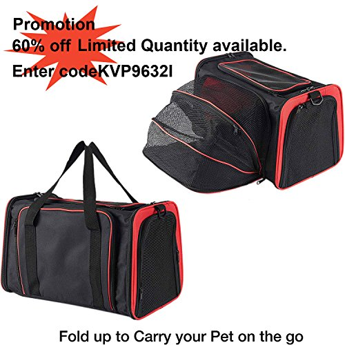 Pettom Expandable Foldable Pet Carrier Big Space Travel Handbag Soft-sided Bags for Dogs Cats and Other Animals(M, Orange) by Pettom (Image #5)