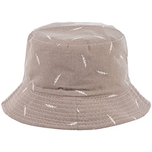 BYOS Fashion Packable Reversible Black Printed Fisherman Bucket Sun Hat, Many Patterns (Leafy Pale Olive)
