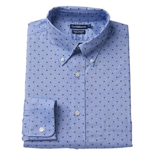 (Croft & Barrow Men's Easy-Care True Comfort Regular-Fit Dress Chirt (Blue Pinwheel, 15.5 34-35))