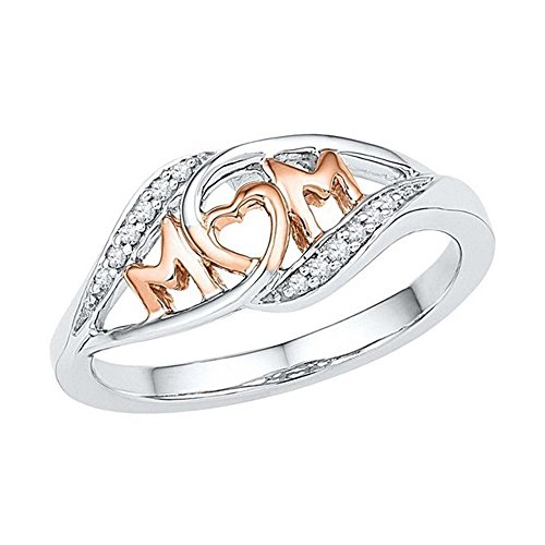 Best Gift For Mother,Fenleo Mum Silver Ring Two Tone Rose Gold Diamond Jewelry