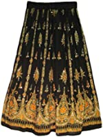 Yoga Trendz Women's Sequined Crinkle Broomstick Gypsy Long Skirt