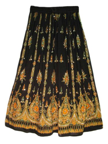 [해외]요가 Trendz 여자 인디언 Sequin Crinkle 빗자루 집시 롱 스커트/Yoga Trendz Womens Indian Sequin Crinkle Broomstick Gypsy Long Skirt
