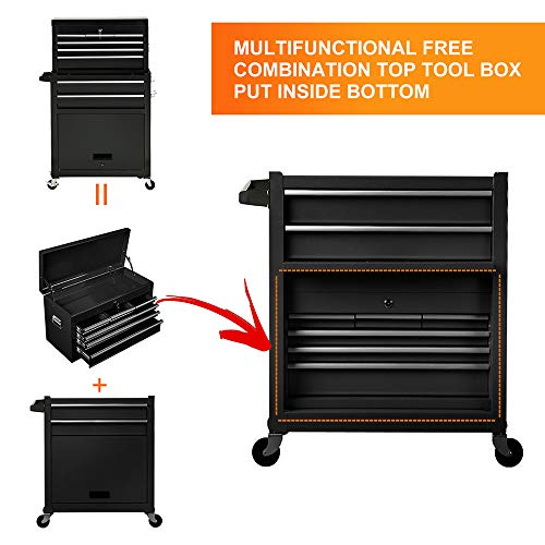 Portable Tool Storage Box 2 in 1 Rolling Tool Chest Removable Tool Storage Cabinet with Sliding Drawers Keyed Locking System Toolbox Organizer,Black by I-Choice (Image #1)