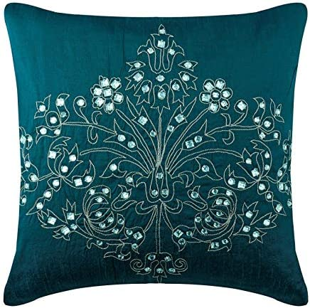 The HomeCentric Handmade Teal Blue Euro Shams 26×26 inch 65×65 cm , Silk European Pillow Shams, Damask, Contemporary Euro Size Pillowcases – Teal Damask