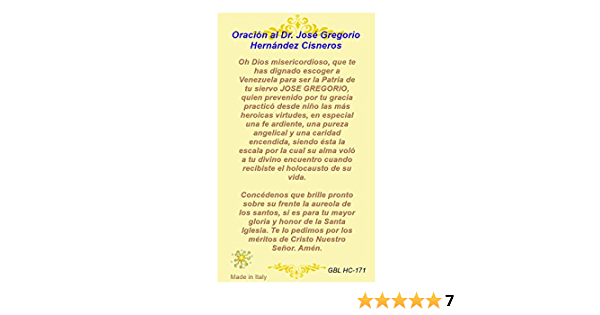 Gifts by Lulee, LLC Oración del Milagrosisimo José Gregorio Hernández Tarjeta de Rezo Laminada Bendita Por Su Santidad Francisco